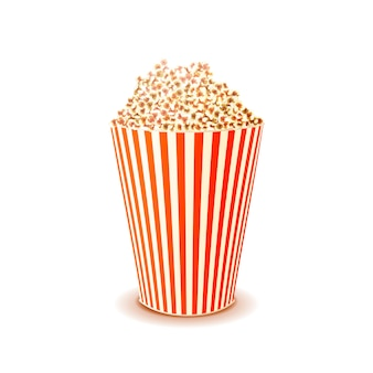 Jasne błyszczące pudełko popcornu na białym tle