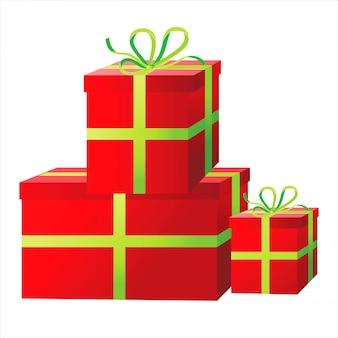 Jasne czerwone pudełka na prezenty