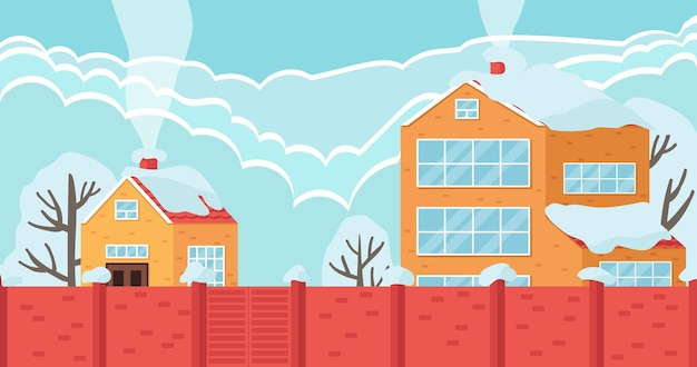 Jasne domy z wędzonym kominem za ilustracją wektora wysokiego ogrodzenia