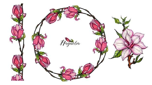 Jasne elementy kwiatowe magnolia do projektowania