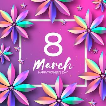Jasne fioletowe kwiaty holograficzne. szczęśliwego dnia kobiet. międzynarodowy 8 marca.