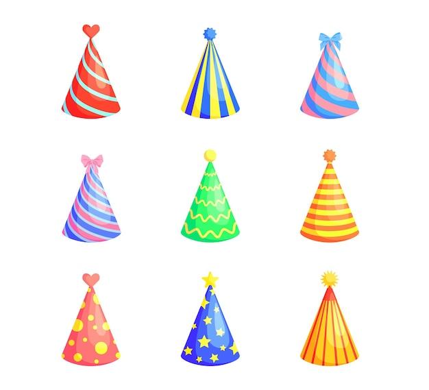 Jasne kolorowe czapki imprezowe kolekcja płaskich zdjęć