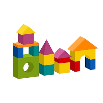 Jasne kolorowe drewniane klocki. cegły dla dzieci budynek wieża, zamek, dom. ilustracja styl objętości na białym tle.