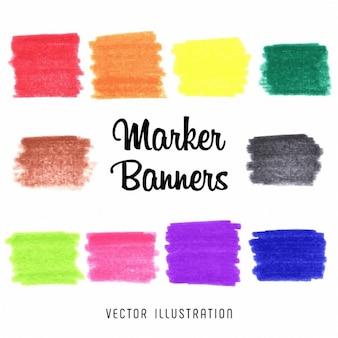 Jasne kolorowe kolory tęczy wektora marker plamy