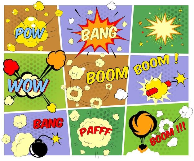 Jasne, kolorowe komiksy dymki przedstawiające różne dźwięki eksplozje huk pfaff pow wow boom z ruchami i wybuchami gwiazd oraz płonącą bombą i dynamitem