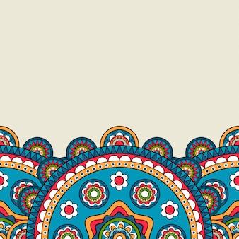 Jasne kolorowe kwiatowy mandali granicy