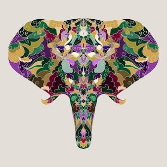 Jasne kolorowe ręcznie rysunek ozdobne abstrakcyjne tło słonia