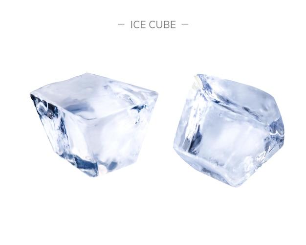 Jasne kostki lodu na białym tle na ilustracji 3d