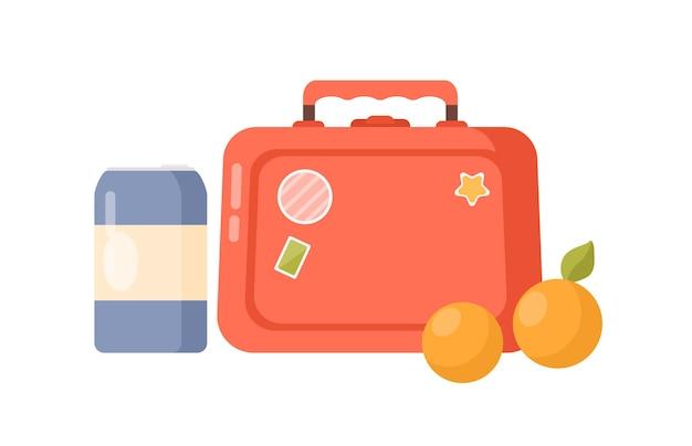 Jasne kreskówka dziecinne pudełko na lunch pudełko do przechowywania i butelka ilustracja wektorowa płaskie. kolorowy lunchbox z owocami, posiłkiem i napojem na białym tle. plastikowy pojemnik na przekąskę.