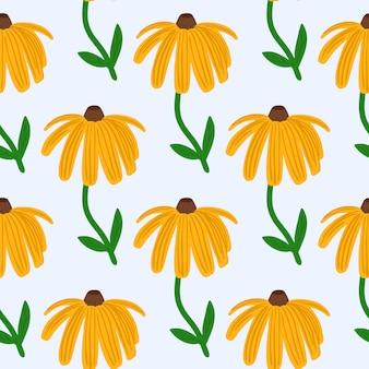 Jasne lato wzór z żółtą sylwetką słonecznika. na białym tle kwiatowy nadruk z białym tłem.