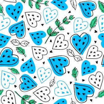 Jasne letnie tło. bezszwowy wzór z błękitnymi arbuzów sercami