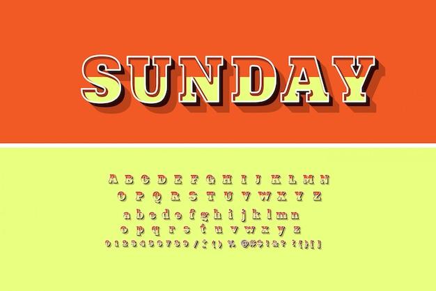 Jasne litery, cyfry i symbole alfabetu 3d