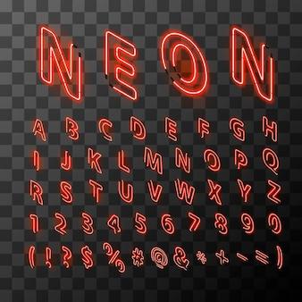 Jasne neonowe czerwone litery w widoku izometrycznym