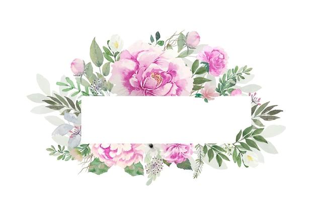 Jasne odcienie, piękne akwarele różowe kwiaty z otwartą prostokątną ramką do kopiowania