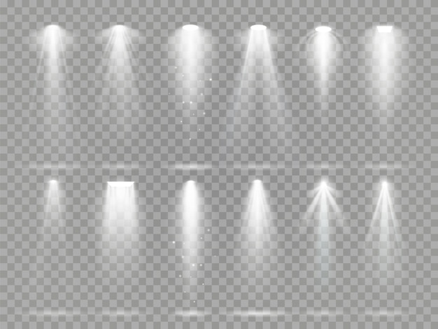 Jasne oświetlenie projektora promienie na scenie teatralnej.