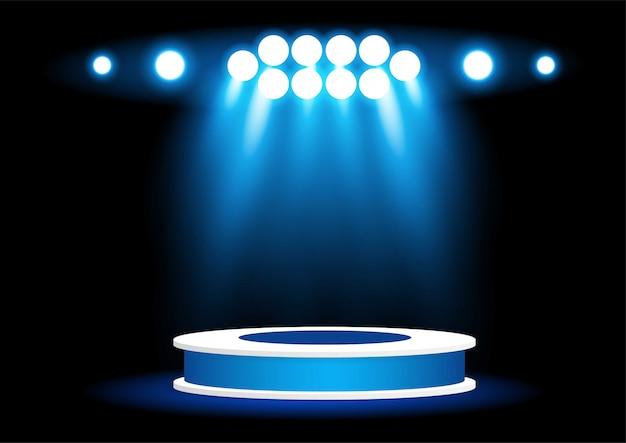 Jasne oświetlenie punktowe na podium