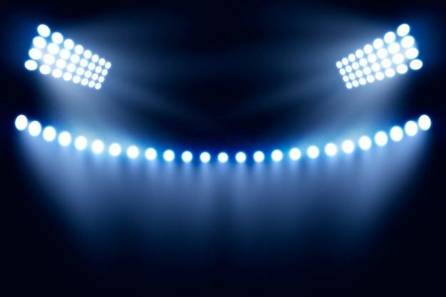 Jasne oświetlenie stadionu realistyczne