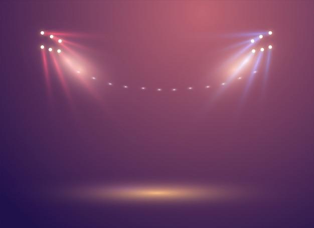 Jasne oświetlenie świateł stadionowych