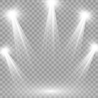 Jasne oświetlenie z reflektorami, kolekcja reflektorów scenicznych, efekty świetlne projektora, scena, pojedyncze światło punktowe, duża kolekcja oświetlenia scenicznego, wektor.