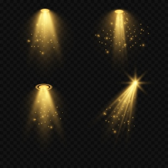 Jasne oświetlenie ze światłami punktowymi. oświetlenie sceniczne, zbiór przezroczystych efektów.
