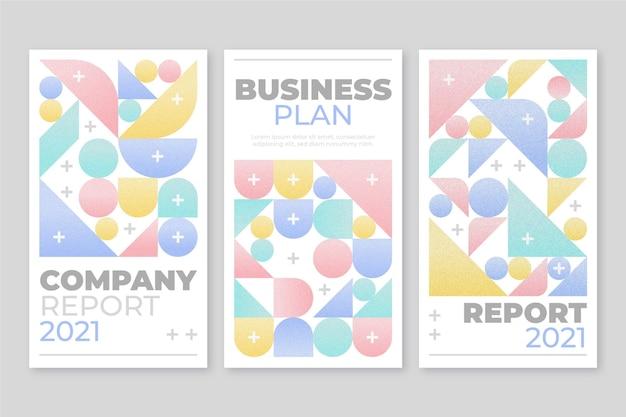 Jasne, pastelowe, geometryczne okładki biznesowe