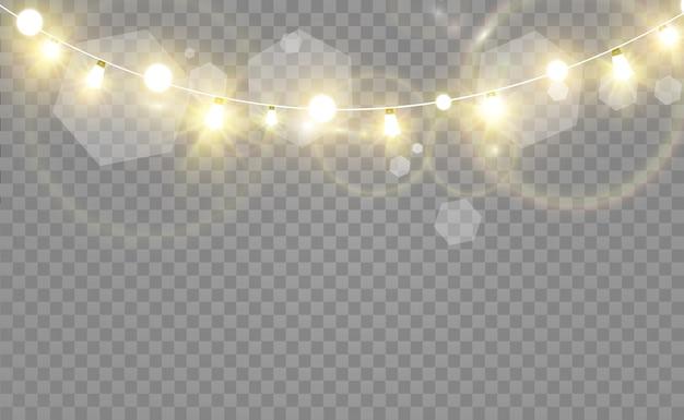 Jasne, piękne światła, elementy wystroju. świecące światła do projektowania