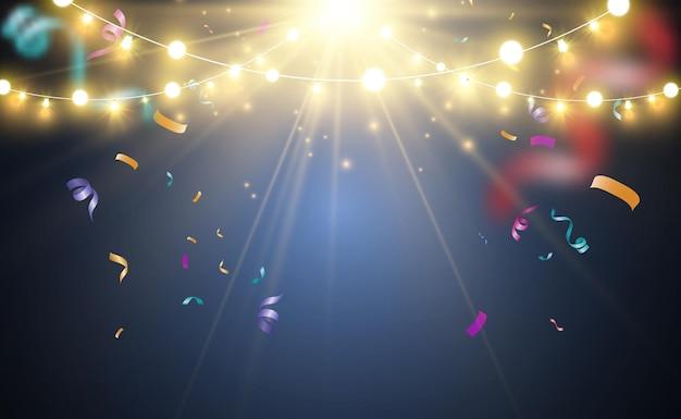 Jasne, piękne światła. świecące światła, girlandy i konfetti.