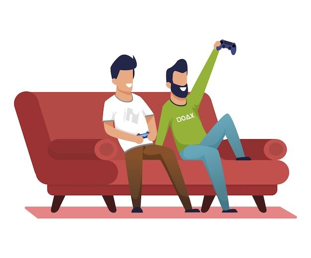 Jasne plakaty gry wideo w domu z przyjaciółmi.