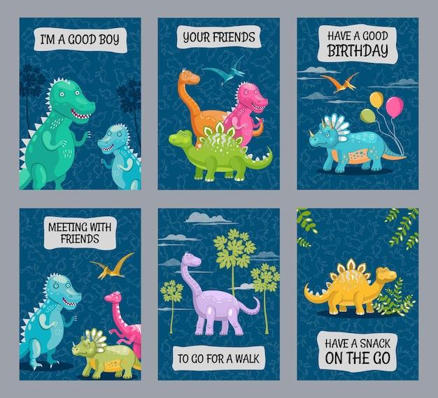 Jasne projekty broszur z uroczymi dinozaurami