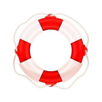 Jasne realistyczne morskie koło ratunkowe, ikona koncepcji bezpieczeństwa wody na białym tle
