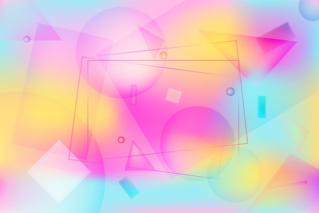 Jasne różowe, żółte i niebieskie żywe tło z abstrakcyjnymi geometrycznymi kształtami