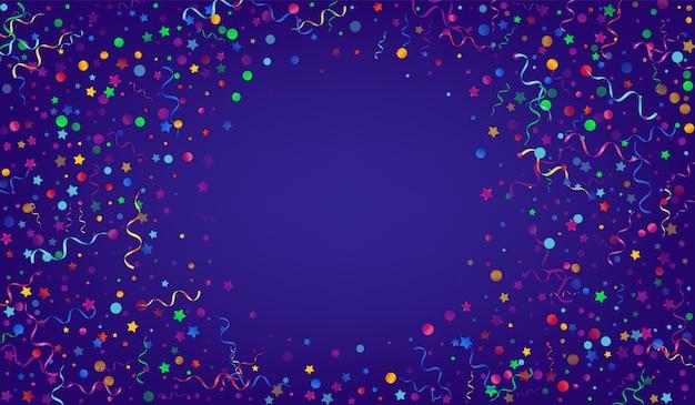 Jasne serpentyny wirować niebieskie tło. boże narodzenie projektowanie cząstek. konfetti na białym tle.