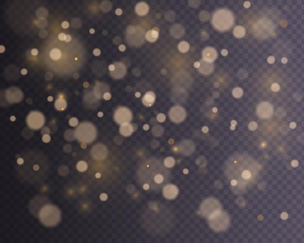 Jasne streszczenie świecące światła bokeh. efekt bokeh światła jest izolowany. świąteczne fioletowe i złote świecące tło.
