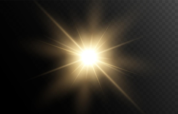 Jasne światło efekt ciepłe promienie iskra gwiazda słońce vector