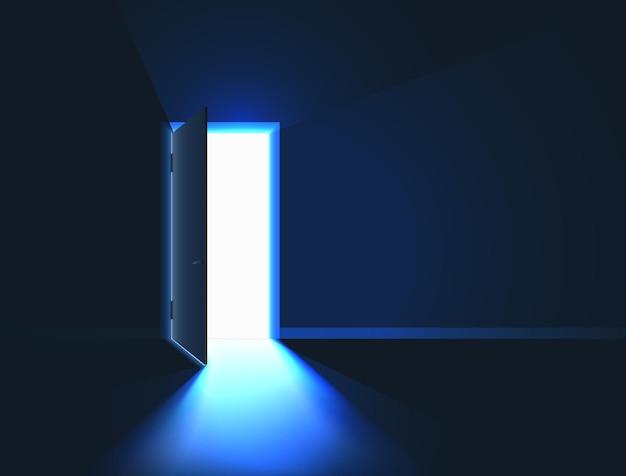 Jasne światło w pomieszczeniu przez otwarte drzwi.