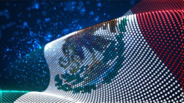 Jasne świecące flaga kraju abstrakcyjnych kropek. meksyk