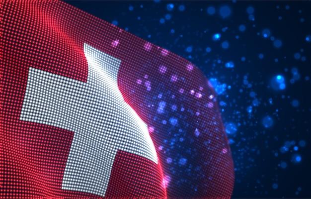 Jasne świecące flaga kraju abstrakcyjnych kropek. szwajcaria