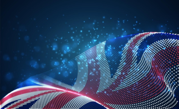 Jasne świecące flaga kraju streszczenie kropek. anglia