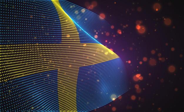 Jasne świecące flaga kraju streszczenie kropki. szwecja