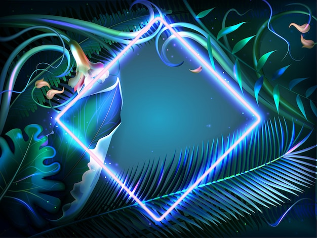 Jasne świecące liście z neonową ramką. egzotyczne podświetlane rośliny, naturalne kwiaty i tropikalny liść dżungli z obramowaniem o kwadratowym kształcie. letni plakat party disco, ulotka zwrotnik lub karta z zaproszeniem.