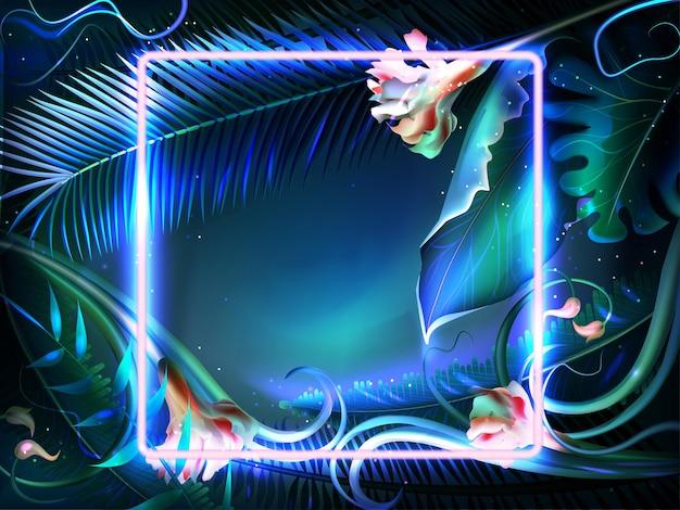 Jasne świecące liście z neonową ramką w realistycznym stylu