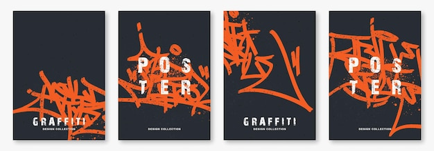 Jasne tagi graffiti z ilustracją wektora markera szablon plakatu sztuki ulicznej