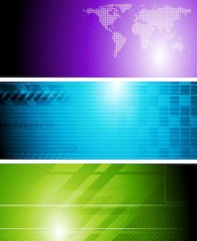 Jasne tech abstrakcyjne banery. projekt wektorowy