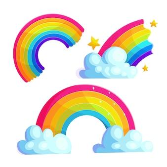 Jasne tęcze kreskówka wektor zestaw naklejek. kolorowe łuki z kolekcji ikon chmur i gwiazd. rysunki magicznych zjawisk pogodowych dla dzieci. błyszcząca krzywa odizolowywająca na bielu. naszywki zeszytu