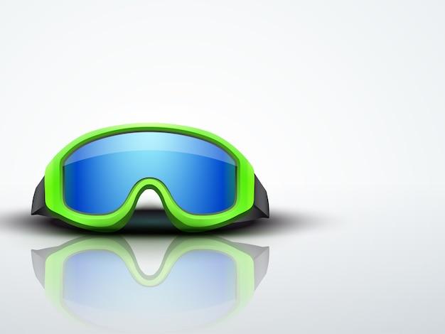 Jasne tło z zielonym śniegu gogle narciarskie. symbol sportu obrony. edytowalna ilustracja.