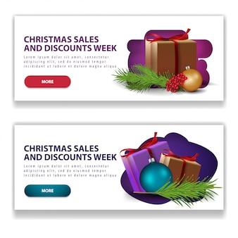 Jasne transparenty świąteczne z przyciskami i prezenty świąteczne
