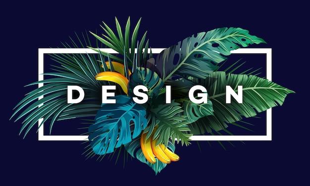 Jasne tropikalne tło z roślinami dżungli. egzotyczny wzór z liśćmi palmowymi.
