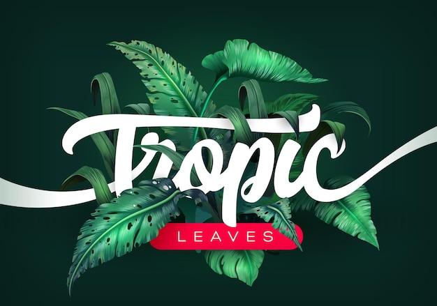 Jasne tropikalne tło z roślinami dżungli. egzotyczny wzór z tropikalnymi liśćmi