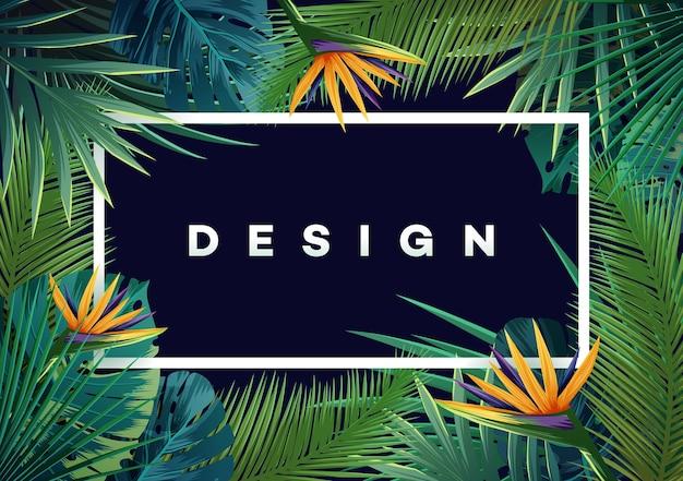 Jasne tropikalne tło z roślinami dżungli. wektor egzotyczny wzór z liści palmowych.