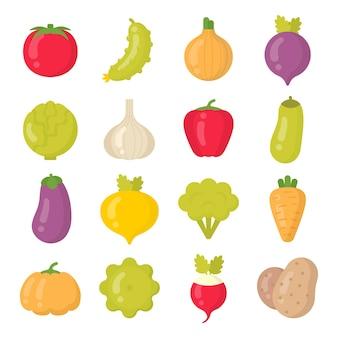 Jasne warzywa na białym tle kolorowy zestaw ikon. letnia kolekcja warzyw
